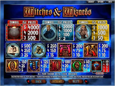 Witches and Wizards Slot Info