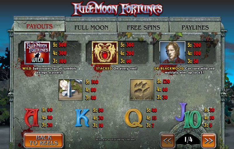 Full Moon Fortunes Slot Info