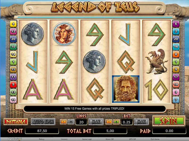 Legend of Zeus™ Slot Machine Game to Play Free in PartyGamings Online Casinos