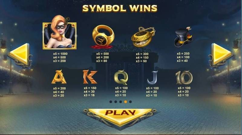 Mascquerade Red Tiger Gaming Slot Paytable