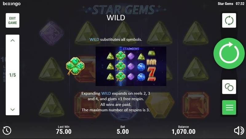 Star Gems Slot Paytable